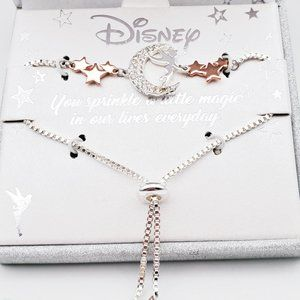 Disney Tinker Bell Moon Rhinestone Necklace NIB